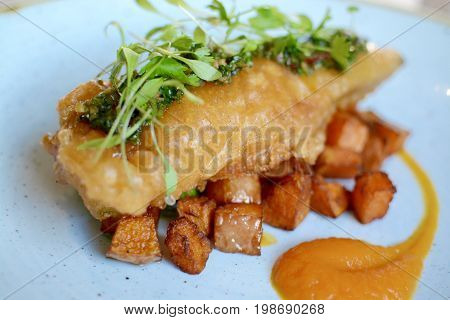 Gourmet battered fish with fried sweet potatoes