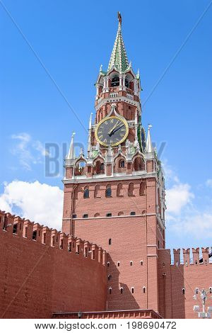 Kremlin Clock Tower, With A Red Star On The Tower