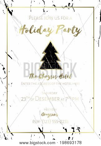Invitation to a holiday party. White and black marble background and gold text. Christmas design template for flyer or poster. Dimensions 5x7 inch, 0.125 bleed size. Seamless pattern included. EPS10.
