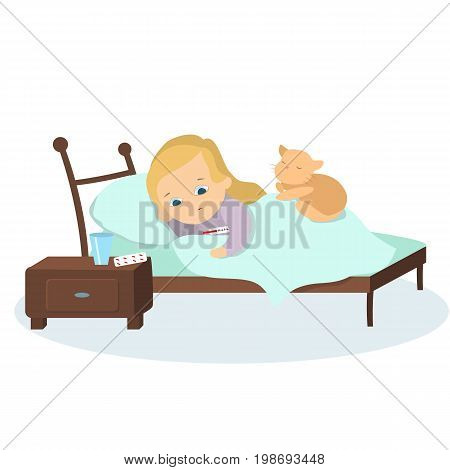 Isolated sick girl in bed with cat, pills and temperature.