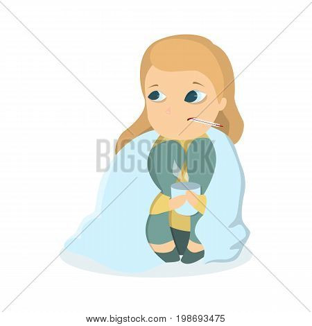 Sick girl wrapped in blanket with hot cup and temperature.