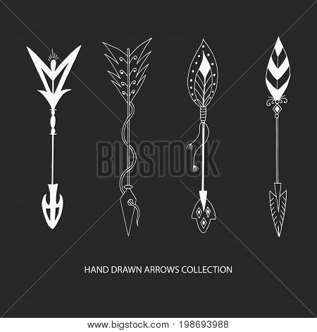 Collection of hand drawn arrows. Tribal vector illustration.