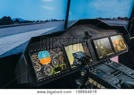 Helicopter Pilot Cabin And Control Panel With Steering Wheel, Simulator