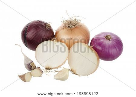 Dried onions and garlic isolated on white background.
