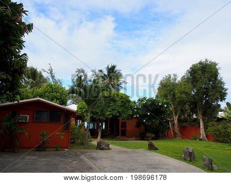 Driveway and Waimanalo Beach House on a nice day on Oahu Hawaii