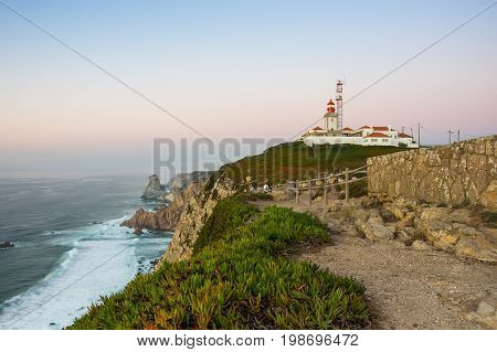 View on Cabo da Roca (Cape Roca) a cape which forms the westernmost extent of mainland Portugal and continental Europe