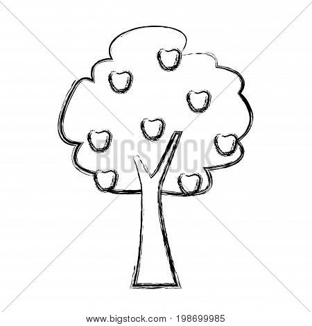 tree fruit forest foliage natural ecology vector illustration