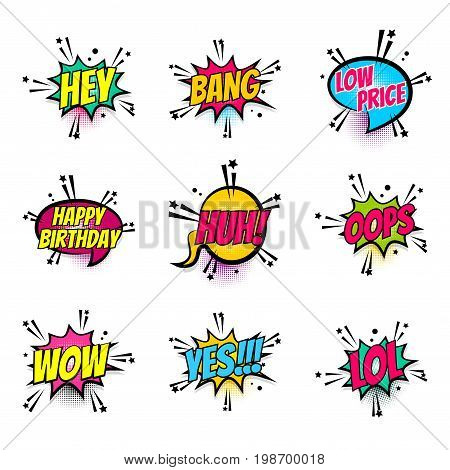 Lettering hey, bang, price, birthday, wow, lol, yes, oops. Set comics book balloon. Bubble icon speech phrase. Cartoon font label expression. Comic text sound effect Vector illustration