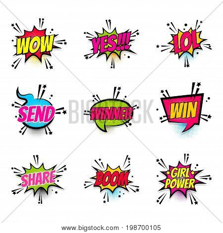 Lettering wow, yes, lol, send, win, boom, girl power, share. Set comics book balloon. Bubble icon speech phrase. Cartoon font label expression. Comic text sound effect Vector illustration