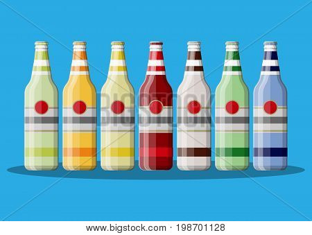 Bottle of carbonated drink or juice. Alcohol drink. Fruit cocktail. Vector illustration in flat style