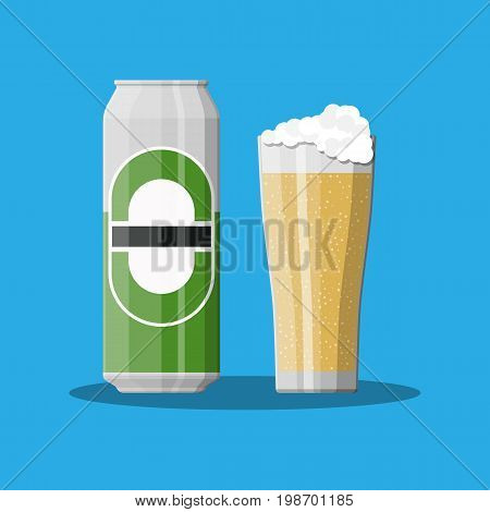 Can of beer with glass. Beer alcohol drink. Vector illustration in flat style