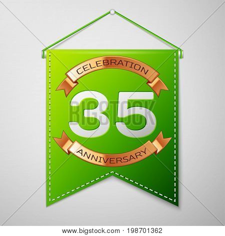 Realistic Green pennant with inscription Thirty five Years Anniversary Celebration Design on grey background. Golden ribbon. Colorful template elements for your birthday party. Vector illustration