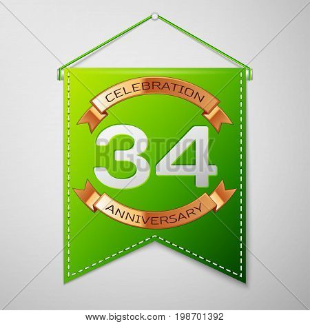 Realistic Green pennant with inscription Thirty four Years Anniversary Celebration Design on grey background. Golden ribbon. Colorful template elements for your birthday party. Vector illustration
