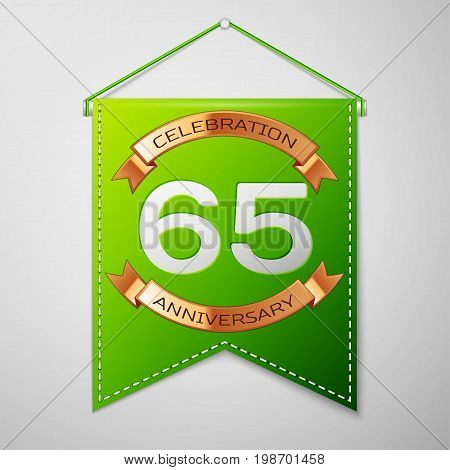 Realistic Green pennant with inscription Sixty five Years Anniversary Celebration Design on grey background. Golden ribbon. Colorful template elements for your birthday party. Vector illustration