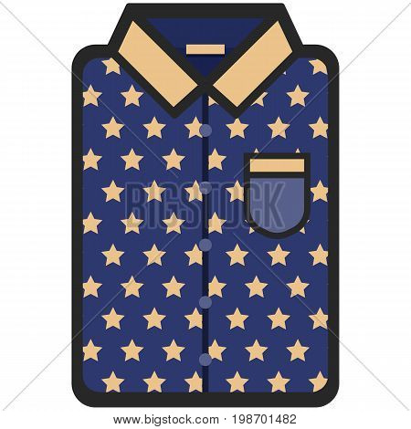 Vector Icon of a modern dark blue shirt with yellow stars for men or woman in flat style. Pixel perfect. Bussiness and office look. For shops and stores