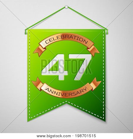 Realistic Green pennant with inscription Forty seven Years Anniversary Celebration Design on grey background. Golden ribbon. Colorful template elements for your birthday party. Vector illustration