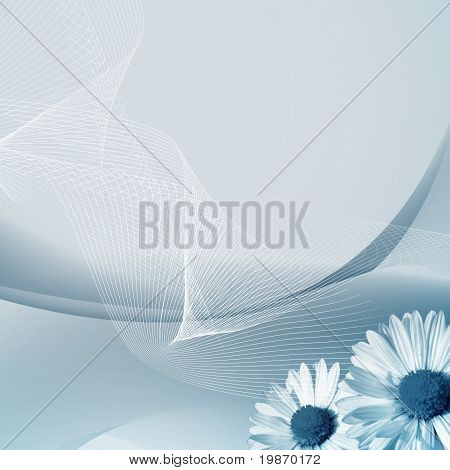 Abstract Blue Background With The Daisy