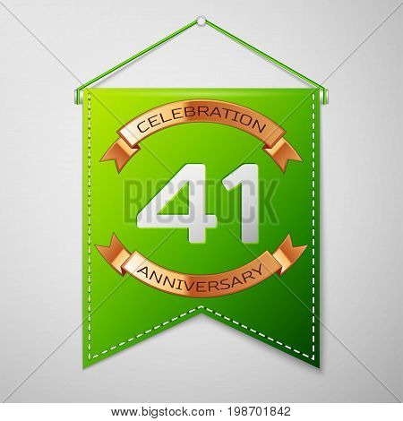 Realistic Green pennant with inscription Forty one Years Anniversary Celebration Design on grey background. Golden ribbon. Colorful template elements for your birthday party. Vector illustration