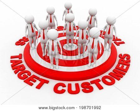 Target Customers, Red Target. business target. 3d rendering