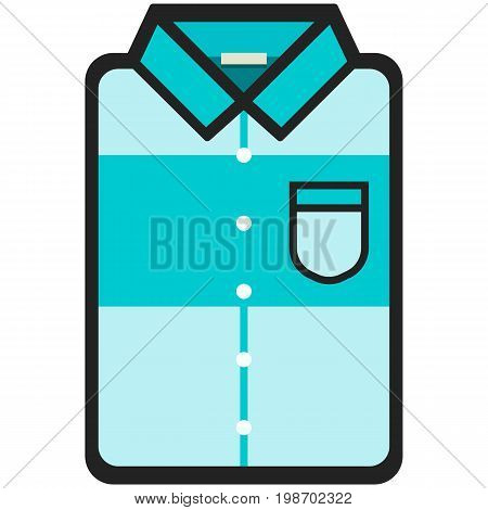 Vector Icon of a modern blue shirt with big stripe for men or woman in flat style. Pixel perfect. Bussiness and office look. For shops and stores