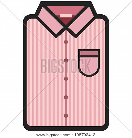 Vector Icon of a modern pink shirt with dark stripes for men or woman in flat style. Pixel perfect. Bussiness and office look. For shops and stores
