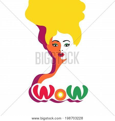 WOW expression concept. Shocked blonde woman face with open mouth, wide open eyes. Surprised cool girl in pop art retro style on white background. Wow bubble text. Vector vintage illustration
