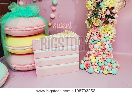 Wedding Photozone In A Candy Style. Birthday, Party