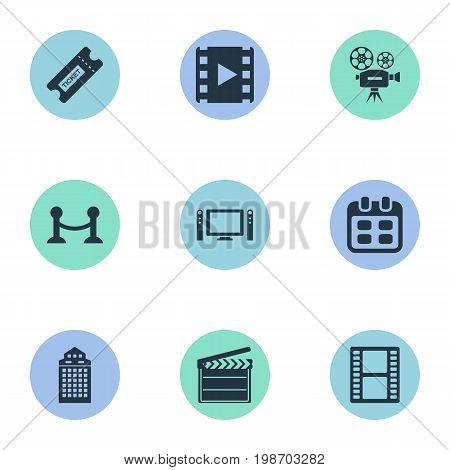 Vector Illustration Set Of Simple Cinema Icons