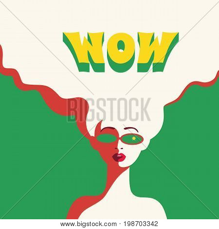WOW expression concept. Shocked blonde woman face with open mouth in sun glasses. Surprised girl in pop art retro style. Cool wow bubble text on white background . Vector vintage illustration