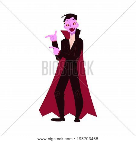 Young man dressed as dracula, vampire, Halloween party costume, cartoon vector illustration isolated on white background. Man dressed as dracula, vampire, black cape and fangs, Halloween party costume