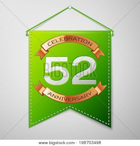 Realistic Green pennant with inscription Fifty two Years Anniversary Celebration Design on grey background. Golden ribbon. Colorful template elements for your birthday party. Vector illustration