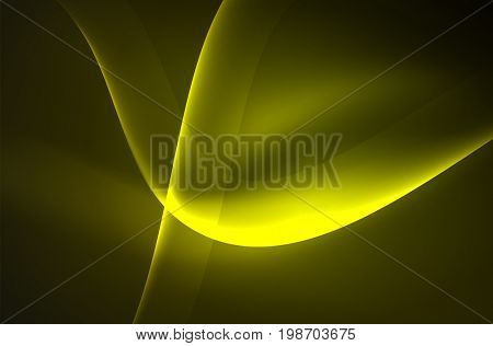 Smoky glowing waves in the dark, abstract background