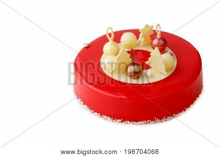 Cake With Red Glaze On Isolated White Background