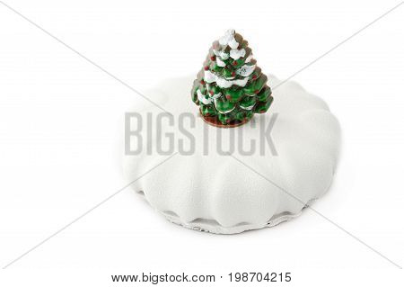 Round Mousse Cake With On An Isolated