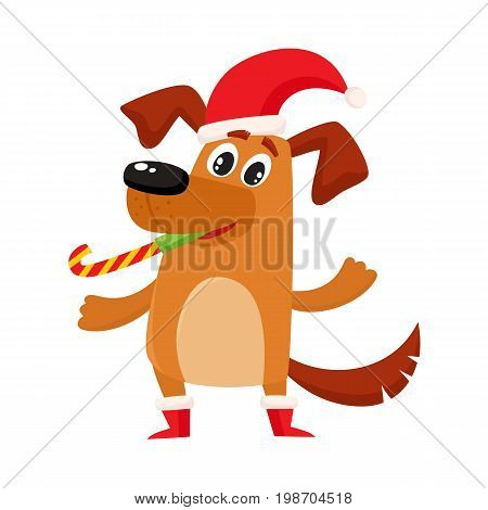 Cute brown funny dog, puppy character in Christmas hat and boots, cartoon vector illustration isolated on white background. Funny dog, puppy character in Christmas hat and boots, symbol, avatar