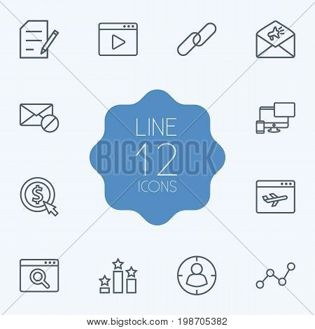 Set Of 12 Search Outline Icons Set
