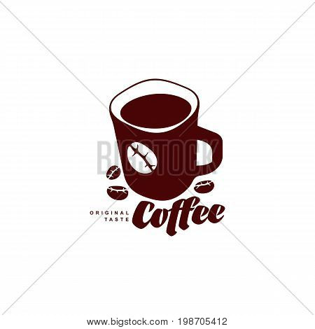Vector mug of hot Coffee .coffee concept flat icon. line icon illustration isolated on a white background.