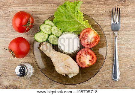 Fried Chicken Legs With Vegetables And Mayonnaise In Plate, Salt