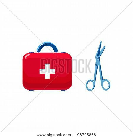 Vector realistic first aid ambulance suitcase surgical scissors set. Illustration isolated on a white background. First aid ambulance surgery medicine symbol. Sign of emergency healthcare doctor nurse