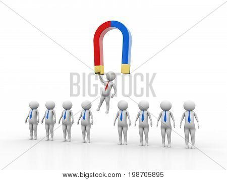Magnet to raise best person from human resources row of people, Magnet attracting people, business concept. 3D rendering isolated on white background
