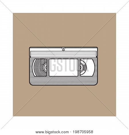 Video cassette, VHS videotape from 90s, sketch vector illustration isolated on brown background. Front view of hand drawn video tape, videocassette, VHS with empty label sticker, retro object from 90s