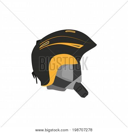 vector snowboarding helmet flat icon. Isolated illustration on a white background. Snowboard, ski winter activity equipment, tools object design.