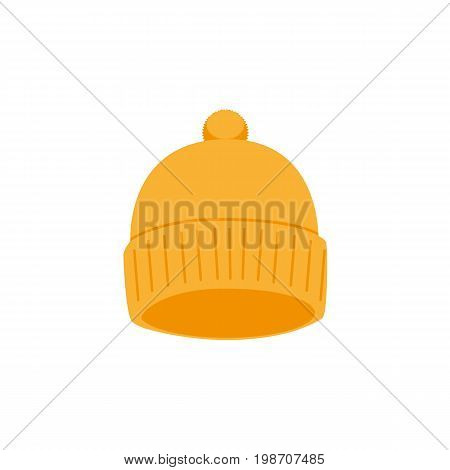 vector snowboarding knitted cap, hat flat icon. Isolated illustration on a white background. Snowboard, ski winter activity equipment, tools object design.
