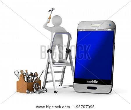 Phone service on white background. Isolated 3D illustration