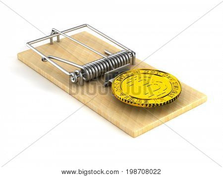 mousetrap and bitcoin on white background. Isolated 3D illustration