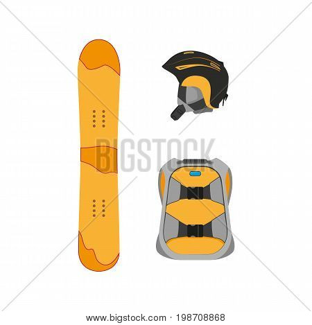 vector snowboarding helmet, backpack, snowboard deck flat icon. Isolated illustration on a white background. Snowboard, ski winter activity equipment, tools object design.