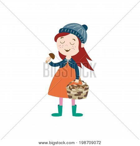 vector girl child wearing coat, knitted hat rubber boots keeping basket in her hand collecting mushrooms. cartoon isolated illustration on a white background. Autumn activity kids concept