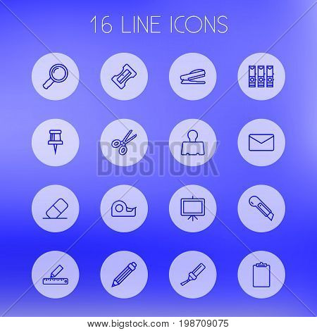 Set Of 16 Instruments Outline Icons Set