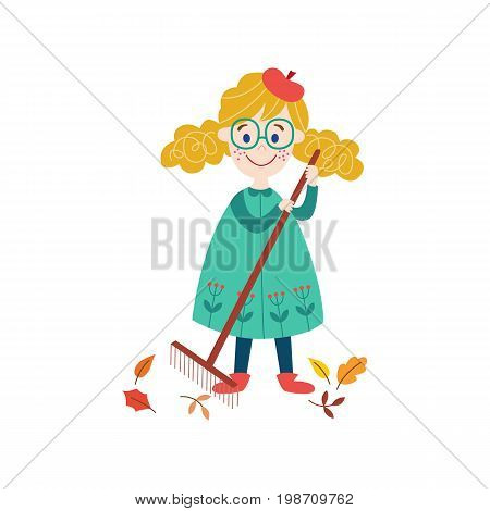vector girl child in rubber boots collecting autumn falling leaves by rake . cartoon isolated illustration on a white background. Autumn activity kids concept