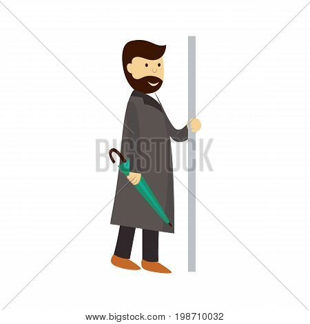 vector man in grey coat holds the handrail keeping closed umbrella in hand. Flat cartoon illustration isolated on a white background. Public transport - subway, bus characters concept design